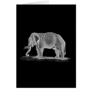 Ejemplo de los 1800s del vintage del elefante blan tarjeta pequeña