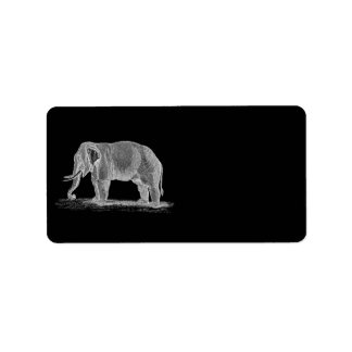 Ejemplo de los 1800s del vintage del elefante etiquetas de dirección
