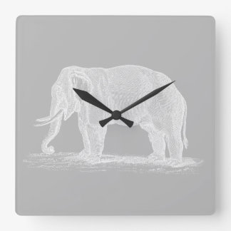 Ejemplo de los 1800s del vintage del elefante reloj cuadrado