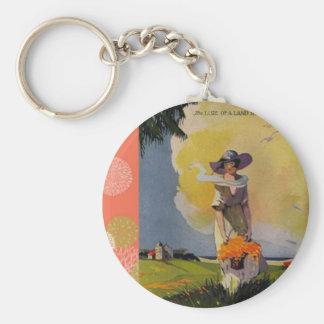 Ejemplo de los 1900s del vintage: Por el mar Llaveros Personalizados