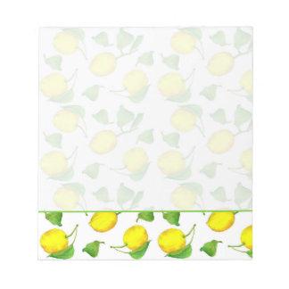Ejemplo de los agrios de la acuarela del limón blocs de notas