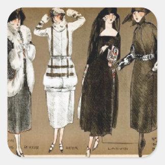 Ejemplo de los años 20 de las altas costuras de la pegatinas cuadradas