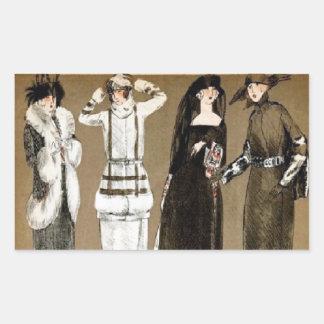 Ejemplo de los años 20 de las altas costuras de la pegatina rectangular