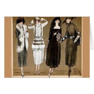 Ejemplo de los años 20 de las altas costuras de la tarjeta de felicitación