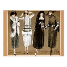 Ejemplo de los años 20 de las altas costuras de la postal