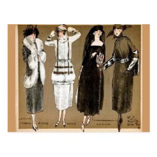 Ejemplo de los años 20 de las altas costuras de la tarjetas postales