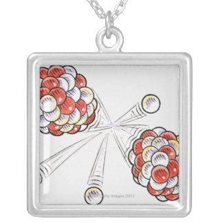 Ejemplo de los átomos y de los neutrones de la colgante cuadrado