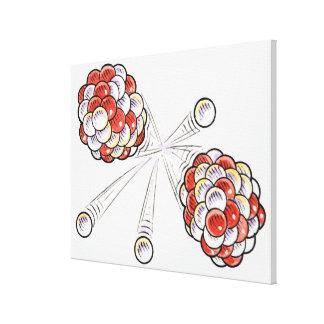 Ejemplo de los átomos y de los neutrones de la fra lienzo envuelto para galerías