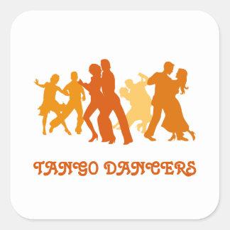 Ejemplo de los bailarines del tango pegatina cuadrada