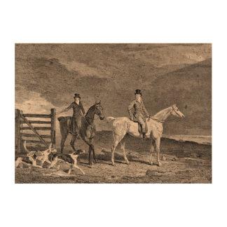Ejemplo de los caballos y de los perros de la caza impresiones en corcho