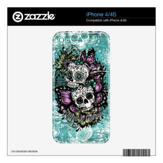 Ejemplo de los cráneos del azúcar de la mariposa e skins para iPhone 4