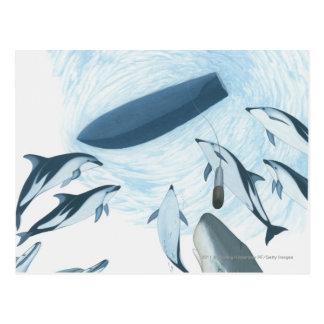 Ejemplo de los delfínes que miran para arriba un postal