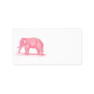 Ejemplo de los elefantes de los 1800s del elefante etiqueta de dirección