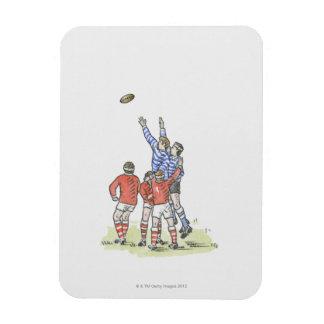 Ejemplo de los hombres que juegan al rugbi que sal rectangle magnet
