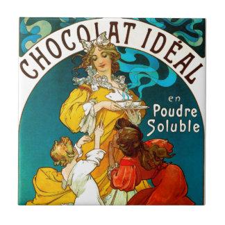 Ejemplo de los niños de Alfons Mucha Chocolat Azulejo Cuadrado Pequeño