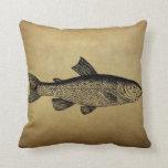 Ejemplo de los pescados del vintage almohada