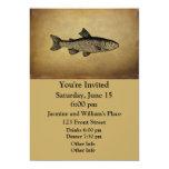 Ejemplo de los pescados del vintage invitación 12,7 x 17,8 cm