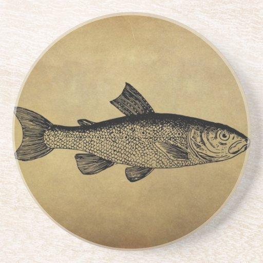 Ejemplo de los pescados del vintage posavasos manualidades