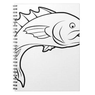 Ejemplo de los pescados libros de apuntes con espiral