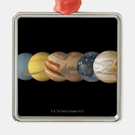 Ejemplo de los planetas alineados adorno cuadrado plateado