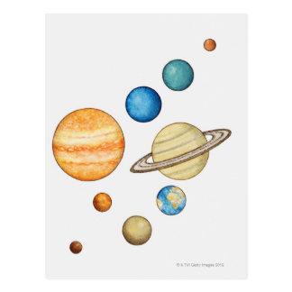 Ejemplo de los planetas de la Sistema Solar Postales