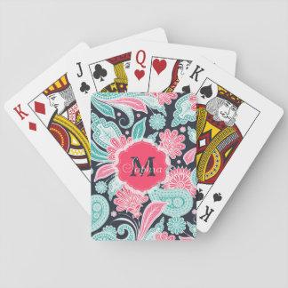 Ejemplo de moda elegante del estampado de flores baraja de póquer