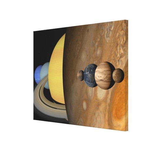 Ejemplo de nueve planetas en la Sistema Solar Impresiones En Lona Estiradas