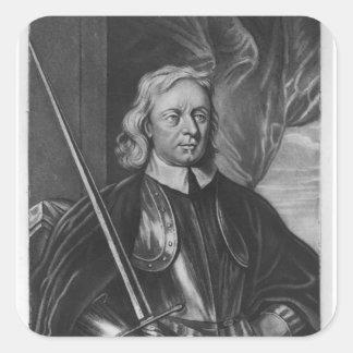Ejemplo de Oliver Cromwell Calcomania Cuadrada Personalizada
