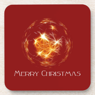 Ejemplo de oro de la bola de las Felices Navidad Posavasos De Bebidas