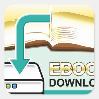 Ejemplo de oro del icono del vector de Ebook de la Pegatina Cuadrada