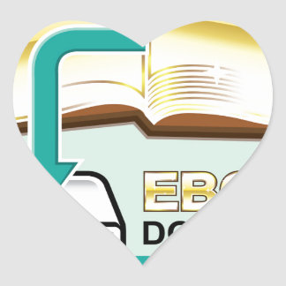 Ejemplo de oro del icono del vector de Ebook de la Pegatina En Forma De Corazón