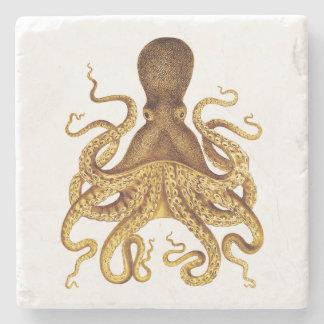 Ejemplo de oro del pulpo del vintage posavasos de piedra