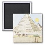 Ejemplo de pirámides y de hombres con los camellos imanes para frigoríficos