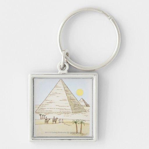 Ejemplo de pirámides y de hombres con los camellos llavero personalizado