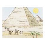 Ejemplo de pirámides y de hombres con los camellos postal