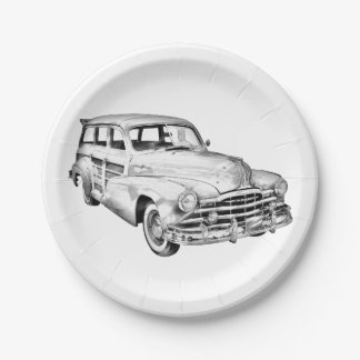 Ejemplo de plata 1948 de Woody de la raya de Plato De Papel De 7 Pulgadas
