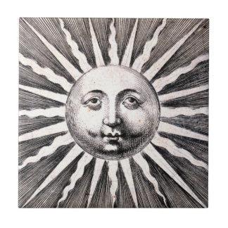 Ejemplo de Sun del grabar en madera del vintage de Azulejo Cuadrado Pequeño