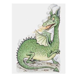 Ejemplo de un fuego de la expectoración del dragón tarjeta postal