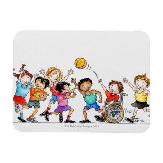 Ejemplo de un grupo de niños incluyendo a imanes rectangulares