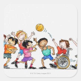 Ejemplo de un grupo de niños incluyendo a pegatina cuadrada