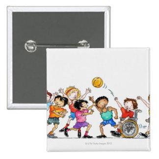 Ejemplo de un grupo de niños incluyendo a pin cuadrado