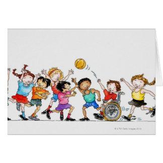 Ejemplo de un grupo de niños incluyendo a tarjeta de felicitación