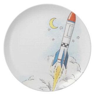 Ejemplo de un lanzamiento del cohete plato de cena
