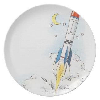 Ejemplo de un lanzamiento del cohete plato para fiesta