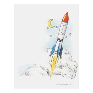 Ejemplo de un lanzamiento del cohete tarjetas postales