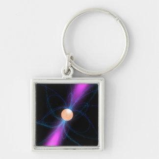 Ejemplo de un pulsar 2 llavero cuadrado plateado