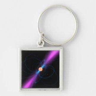Ejemplo de un pulsar llavero cuadrado plateado