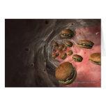 Ejemplo de un vaso sanguíneo con las hamburguesas tarjeta de felicitación