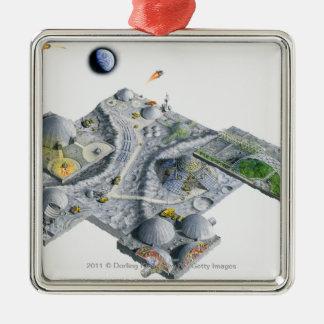 Ejemplo de una base futurista en la luna ornamento para reyes magos