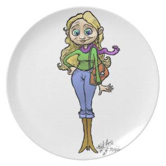Ejemplo de una mujer de las compras, placa del platos de comidas